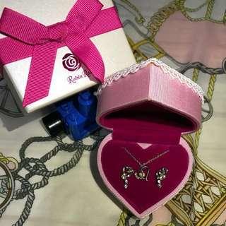 Rubin Rosa水晶耳環連頸鍊