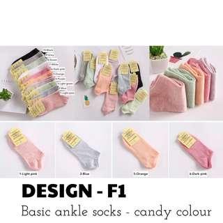 Socks - Basic ankle socks (candy colour)