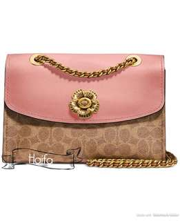 Coach parker in signature canvas with tea rose turnlock