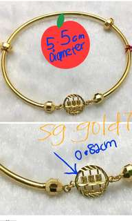 👉FREE DELIVERY 👈916 Gold Bangle 5.5cm SIZE