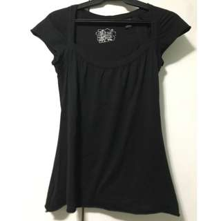 Black Cotton Short Sleeve Blouse (Mango)