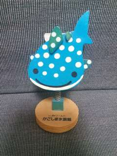 藍色白圓點鯨魚 咭片夾  日本 水族館 name card memo holder