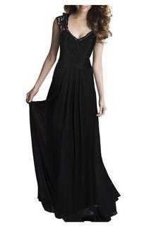 Lace Back Evening Maxi Dress (KR090325)