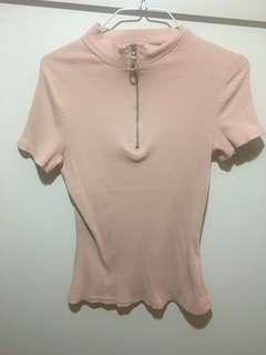 Pink ribbed zip up top