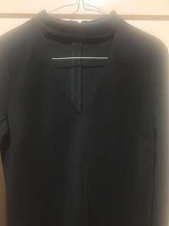 Black long sleeve choker dress