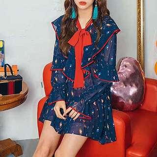 韓風荷葉邊洋裝