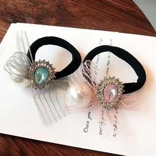 韓國新品珍珠水鑽蝴蝶結髮圈頭飾