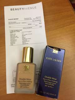 (連pump) Estee Lauder Double Wear Foundation 1W2 sand