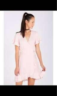 Light pink wrap dress