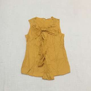 YELLOW TOP with BOW sz S