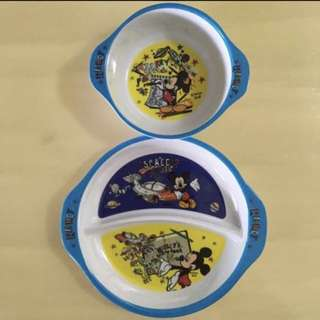 BN 🍔DISNEY🍔 Mickey Mouse Children/ Kids Bowl & Divided Plate Cutlery Utensils Cookware/ Dinnerware/ Tableware Set