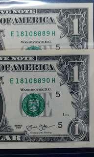 2013年 美金1元 2連號 18108889-90 刀貨拆出 直版UNC級