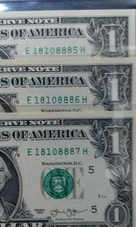 2013年 美金1元 3連號 18108885-87 刀貨拆出 直版UNC級