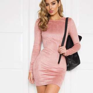 Light Pink Velvet Solace Dress