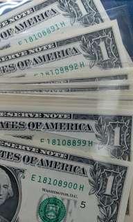 2013年 美金1元 10連號 刀貨拆出 18108891-900 直版UNC