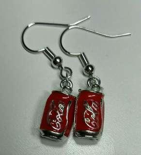 手作 韓國 進口 得意 防敏耳環 可樂 可口可樂