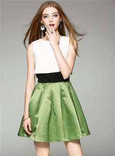 Formal: Color Block O-Neck Pleated Tank Dress (S / M / L / XL) - OA/YZD052925