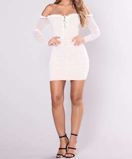White off the shoulder mesh dress