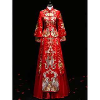 pre order Muslimah Chinese gold red long sleeve cheongsam wedding dress gown  RBMWD0157