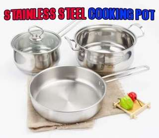 🌸U55 STAINLESS STEEL COOKING POT 3 IN 1 (4.5KG)🌸