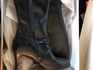Hush Puppy Tall Black Leather Boots 9M