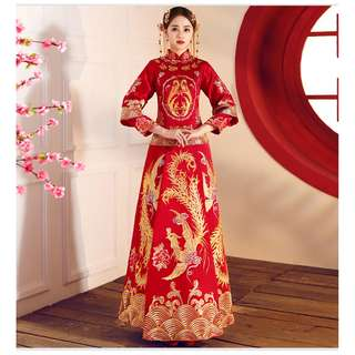 pre order Muslimah Phoenix Chinese gold red long sleeve cheongsam wedding dress gown  RBMWD0158