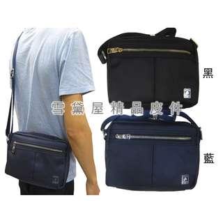 ~雪黛屋~SANDIA-POLO 斜側包小容量拉鍊式主袋進口防水尼龍布材質隨身物品中性可肩斜背BSP101871900