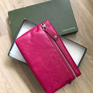 Longchamp Rose Red Leather Pouch 桃紅色真皮小袋