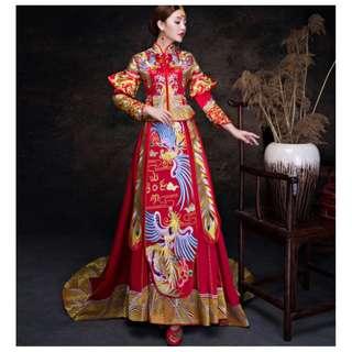 pre order Muslimah Phoenix Chinese fishtail red long sleeve cheongsam wedding dress gown  RBMWD0160