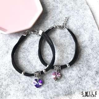 Swarovski heart Crystal Double Bracelet