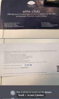 50% massage voucher Mandarin Oriental KL expiry 30/4/18