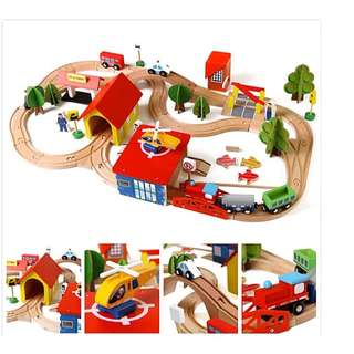 High quality Wooden toy train set 88 pieces