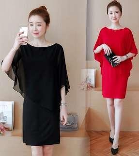 70876 #大碼假兩件套装雪纺連衣裙   尺码:L XL 2XL 3XL 4XL 5XL  颜色:黑色 红色