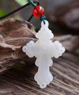 Hetian jade cross.
