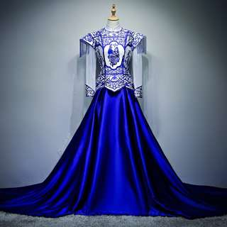 pre order Muslimah blue white fishtail long sleeve cheongsam wedding dress gown  RBMWD0162