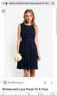 Zalora Bridesmaid Lace Panel Fit & Flare Dress