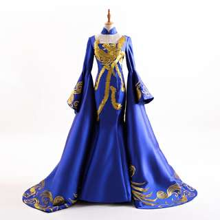 pre order Muslimah Phoenix Chinese bodycon fishtail black blue red long sleeve cheongsam wedding dress gown  RBMWD0161