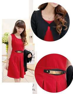 Red dress and black cardigan; f@