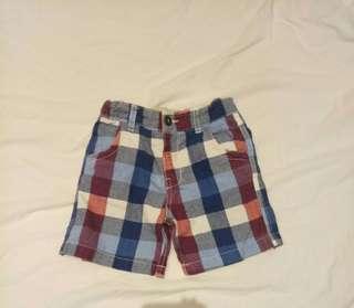 H&M小男童格紋格子短褲尺寸約2-3歲
