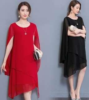 70868 #大碼寬鬆斗篷遮肚雪纺連衣裙   尺码:L XL 2XL 3XL 4XL 5XL  颜色:黑色 红色