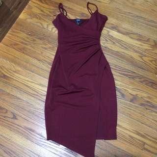 Form Fitting Maroon Dress Size L