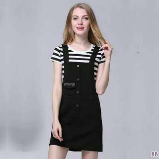 Set overall and stripe tee ; f@