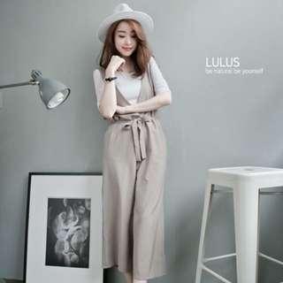 Lulu's 兩件式-素面上衣+背心連身長褲