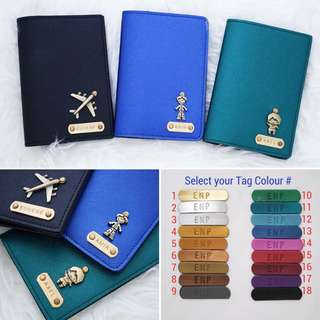 Personalised Passport Holder Custom Passport Cover Customised Name Passport Case Many colours & charms. FREE SHIPPING