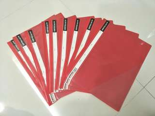 Red A4 plastic folders