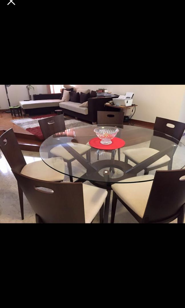 6 Seater Tempered Glass Top Dining Table Set Furniture Tables Chairs On Carousell