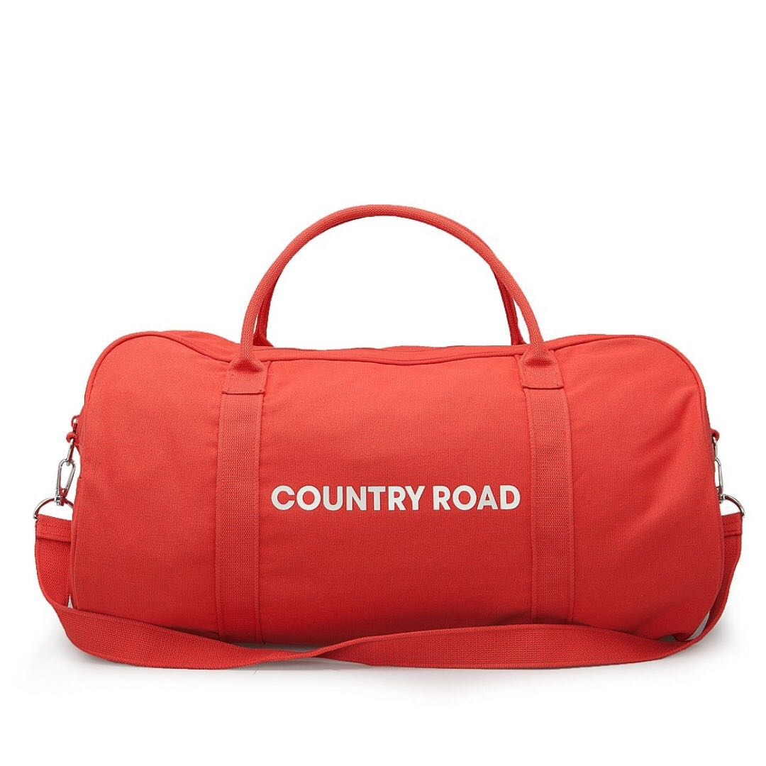 COUNTRY ROAD zip canvas logo tote duffle bag