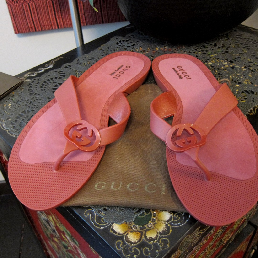 34236394643 Gucci GG Rubber Sandals Flip Flops Slippers Shoe