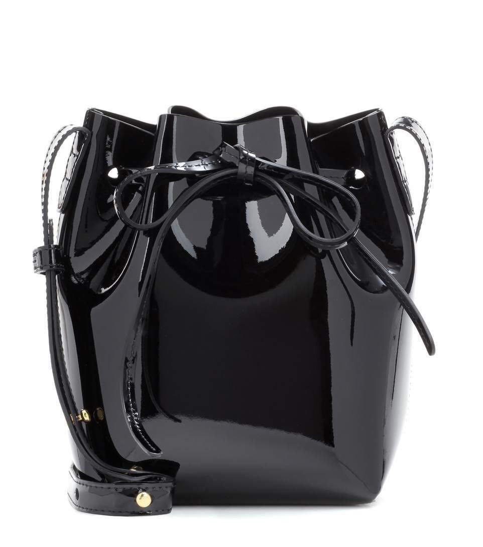 Mansur Gavriel Patent Mini Mini Bucket Bag (Black)
