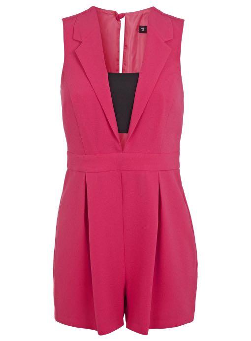 d89dd2b20f3 Miss selfridge hot pink tuxedo playsuit